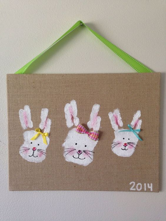 Easter bunny handprint crafts