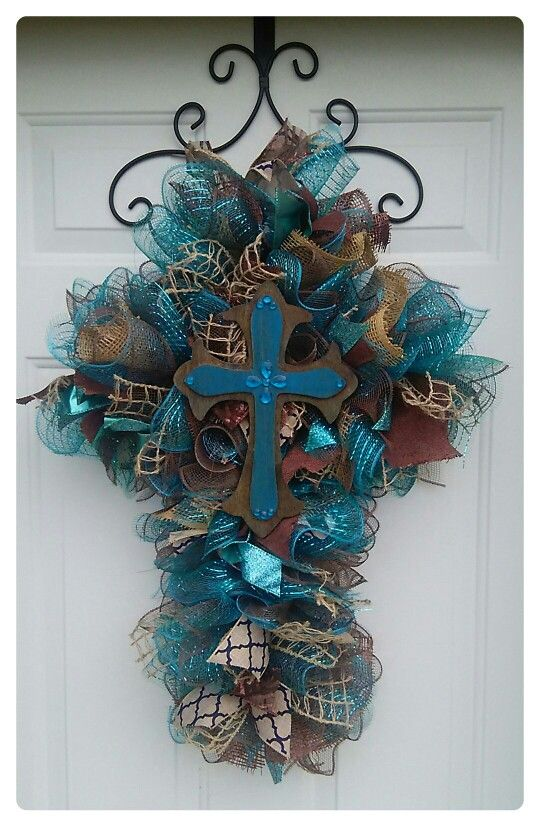 Teal Mesh Cross Wreath