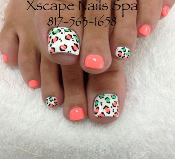 Coral & Green Leopard Print