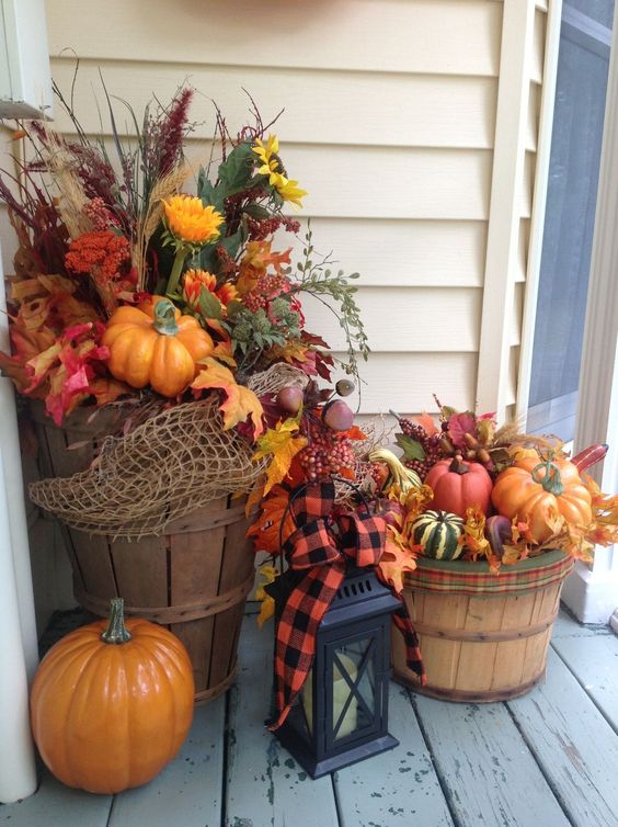 Pails of Pumpkins & Gourds