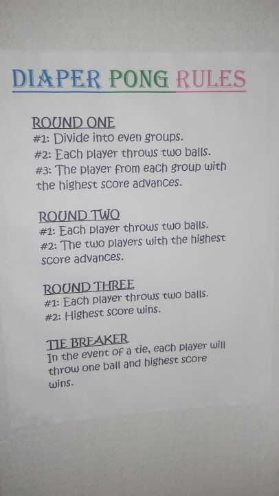 Diaper Pong Rules