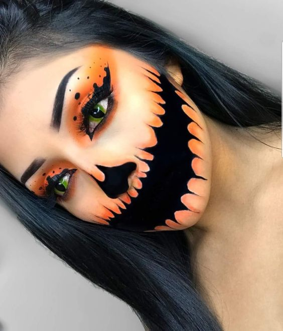 Black & Orange Halloween Makeup