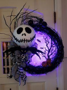 Lighted Jack Skellington Wreath