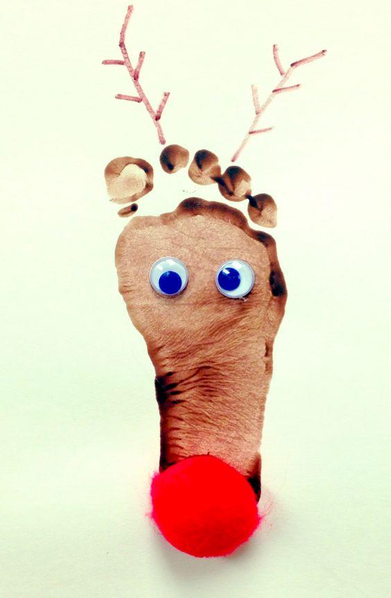 Baby footprint reindeer