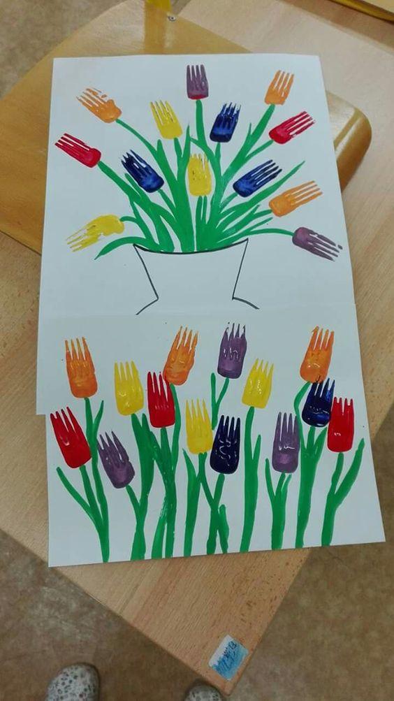 Fork Print Tulips