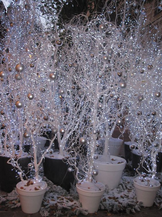 Trees with Silver Ornaments