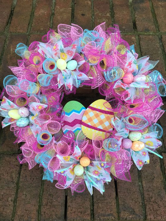 Deco Mesh Easter Wreath #dollarstore