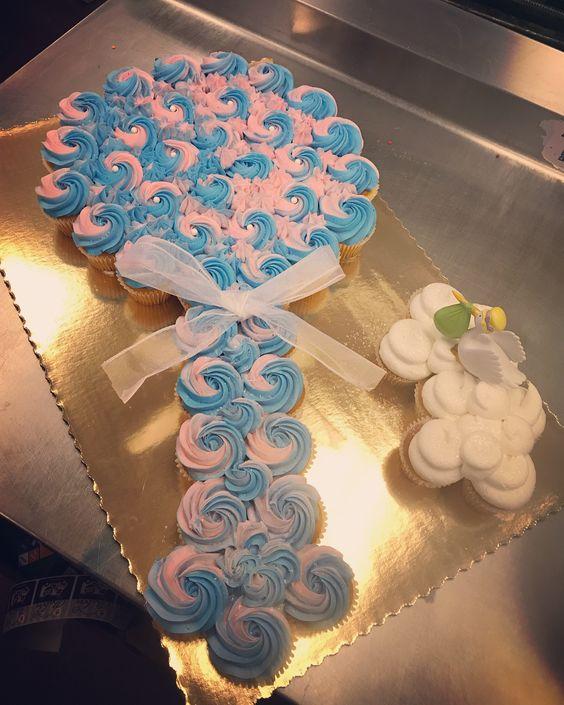Baby rattle cupcake cake