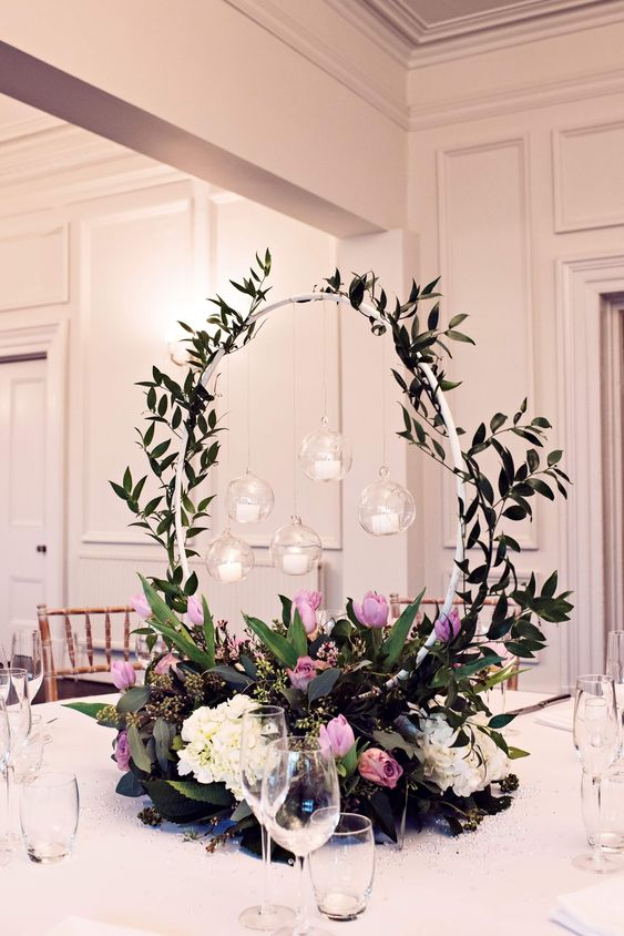 Floral Hoop Table Centerpiece