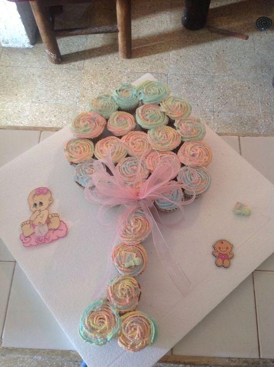Baby rattle cupcake pull apart cake