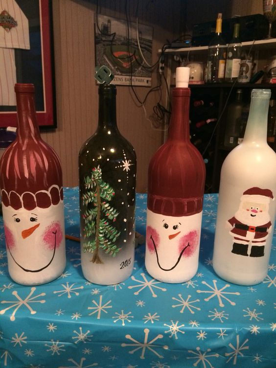 Holiday Painted Wine Bottles