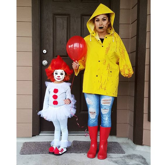 Pennywise and Georgie costume #halloween #halloweencostumes
