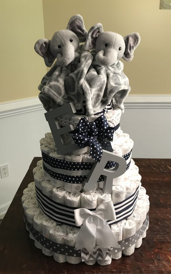 DIY Elephant Diaper Cake