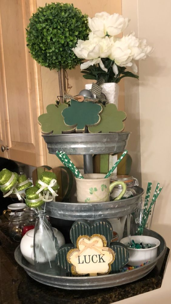 Decorated St. Patrick's Day 3 tiered stand