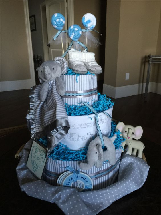 Elephant Diaper cake for baby boy