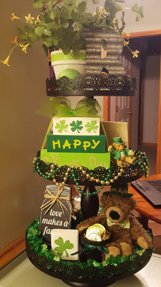 St. Patrick's day tiered tray