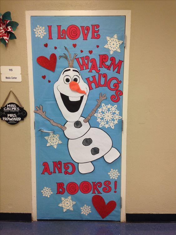 Olaf library door #classroomdecor #valentinesdaydecorations