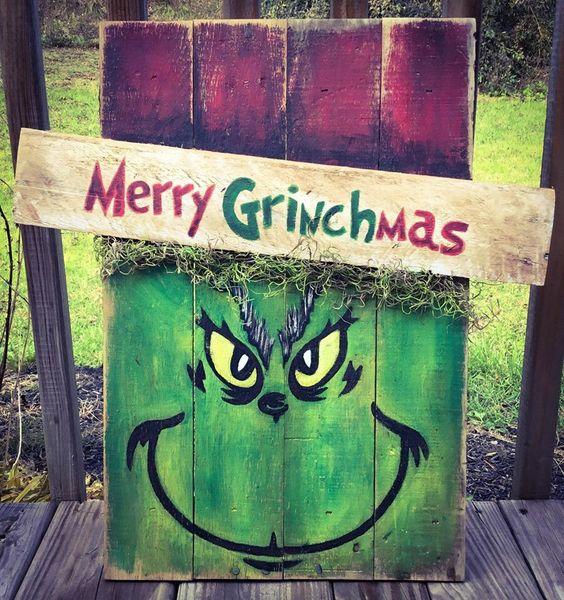 grinch pallet sign