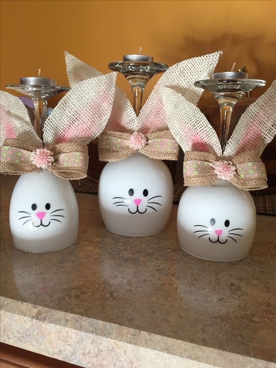 How to Make an Easter Wine Glass Candle Holder